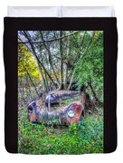 Antique Car With Trees In Windshield Duvet Cover