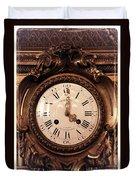 Antique Clock In Sepia Duvet Cover