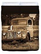 Antique Cut Bed Truck In Sepia Duvet Cover