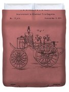 Antique Fire Engine Patent On Red Duvet Cover