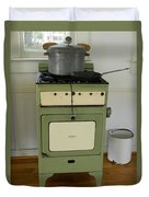 Antique Green Stove And Pressure Cooker Duvet Cover