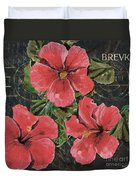 Antique Hibiscus Black 3 Duvet Cover by Debbie DeWitt