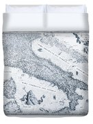 Antique Italy Map 1573 Duvet Cover