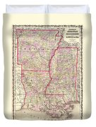Antique Map Of Arkansas Mississippi And Louisiana Duvet Cover