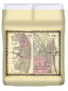 Antique Map Of Chicago And St Louis 1855 Duvet Cover