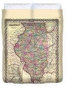 Antique Map Of Illinois 1855 Duvet Cover
