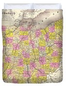 Antique Map Of Ohio 1850 Duvet Cover