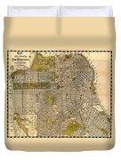 Antique Map Of San Francisco 1932 Duvet Cover