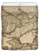 Antique Map Of The Russian Empire In Russian 1800 Duvet Cover