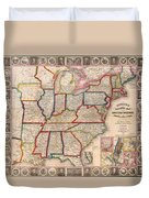 Antique Map Of The United States 1848 Duvet Cover