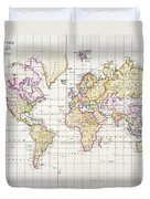 Antique Map Of The World Duvet Cover by James The Elder Wyld
