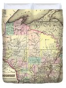 Antique Map Of Wisconsin 1855 Duvet Cover