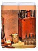 Antique Oil Bottles Duvet Cover