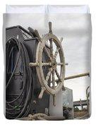 Antique Ship Steering Wheel Duvet Cover