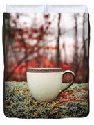 Antique Teacup In The Woods Duvet Cover by Edward Fielding