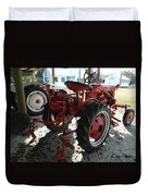 Antique Tractor Hiding In The Shadows Duvet Cover