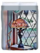 Antique Victorian Lamp At The Boardwalk Plaza - Rehoboth Beach Delaware Duvet Cover