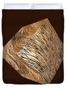 Antique White Gold Abstract Cube Duvet Cover