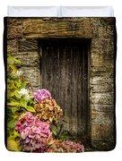 Antique Wooden Door And Hortensia Duvet Cover