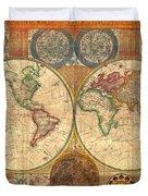 Antique World Map In Hemispheres 1794 Duvet Cover