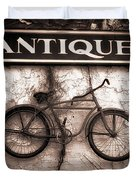 Antiques And The Old Bike Duvet Cover by Bob Orsillo