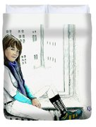 Antonela In The Window Duvet Cover