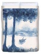 Antwerp Blue Landscape Watercolor Duvet Cover