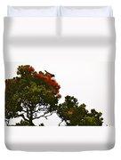 Apapane Atop An Orange Ohia Lehua Tree  Duvet Cover