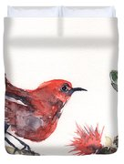Apapane - Native Hawaiian Bird Duvet Cover