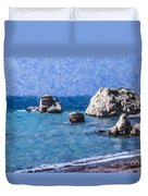 Aphrodites Rock Cyprus Duvet Cover