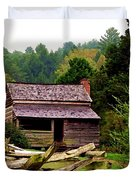 Appalachian Cabin With Fence Duvet Cover