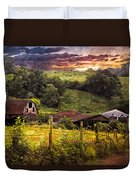 Appalachian Mountain Farm Duvet Cover by Debra and Dave Vanderlaan