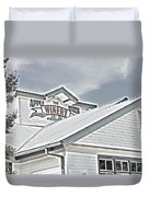 Apple Barn Winery Sign In Grayscale Duvet Cover