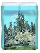 Apple Blossoms And Redwoods Duvet Cover