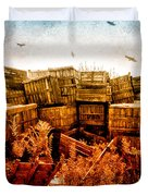 Apple Crates And Crows Duvet Cover by Bob Orsillo