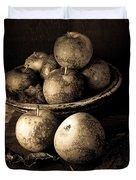 Apple Still Life Black And White Duvet Cover