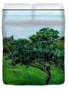 Apple Trees By The Sea Trouville Duvet Cover