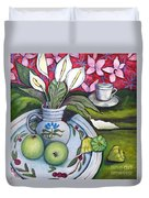 Apples And Lilies Duvet Cover