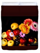 Apples And Suflowers Duvet Cover
