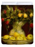 Apples Pears And Tulips Duvet Cover