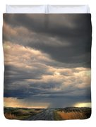 Approaching Storm On Country Road Duvet Cover