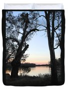 Approaching Sunset Silhouettes Duvet Cover