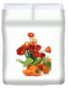 Apricots And Red Roses Duvet Cover