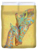 Aqua And Orange Giraffes Duvet Cover