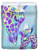 Aqua And Purple Loving Giraffes Duvet Cover