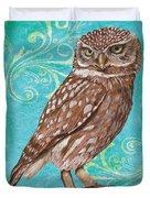 Aqua Barn Owl Duvet Cover