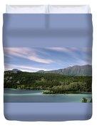 Aqua Green Mountain Lake Duvet Cover