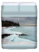 Aqua Ice At Split Rock Lighthouse Duvet Cover