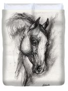 Arabian Horse Drawing 12 Duvet Cover
