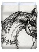 Arabian Horse Drawing 22 Duvet Cover